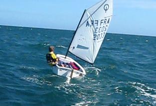 L'efficacité du rappel en optimist est très important: le poids du barreur est souvent supérieur à celui du bateau (35 kg)