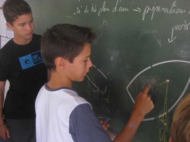 Clément Masson dessine des vecteurs au tableau devant le groupe un rien perplexe.
