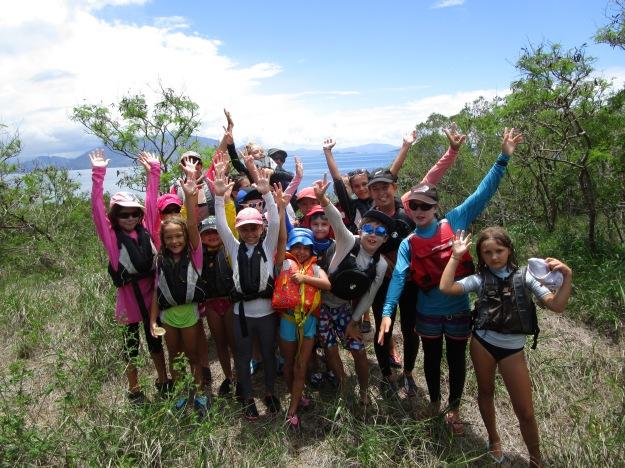 Ascension au sommet de l'îlot Sainte Marie avec le groupe du matin.