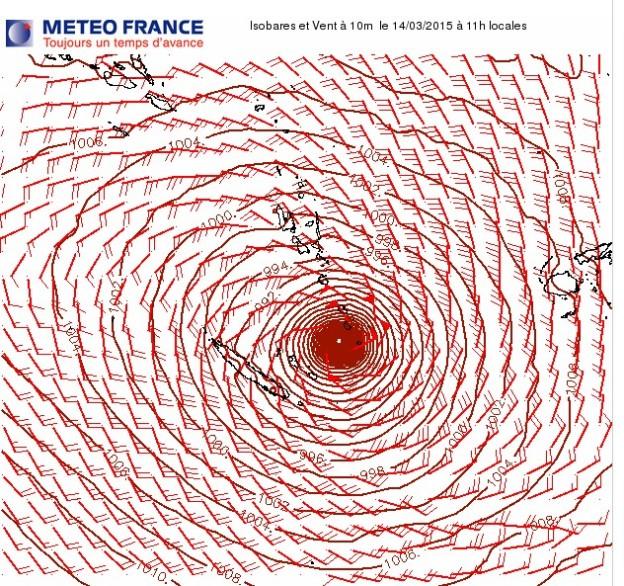 Isobares et vent à 10 m le 14 mars 015