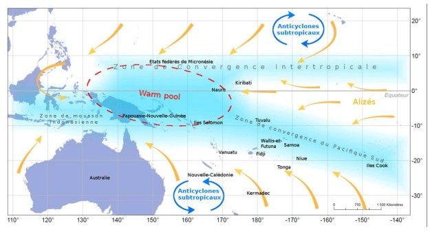 Connaitre les grands principes des circulations de masse d'air participe à une meilleure explication des phénomènes liés à la Nouvelle Calédonie.